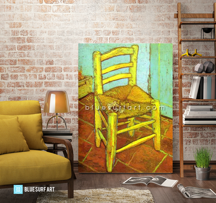 Vincents Chair with Pipe Reproduction in Oil Painting on Canvas I BSA 4