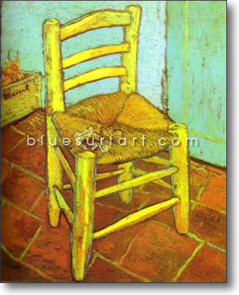 Vincents Chair with Pipe Reproduction in Oil Painting on Canvas I BSA