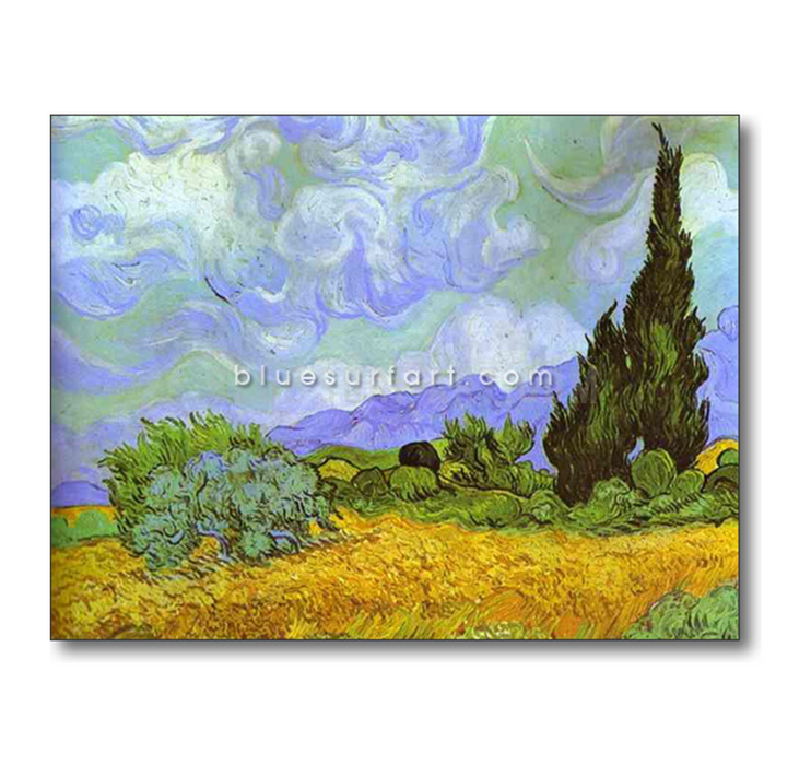 Wheat Field with Cypresses. Saint-Remy Reproduction in Oil Painting on Canvas 5