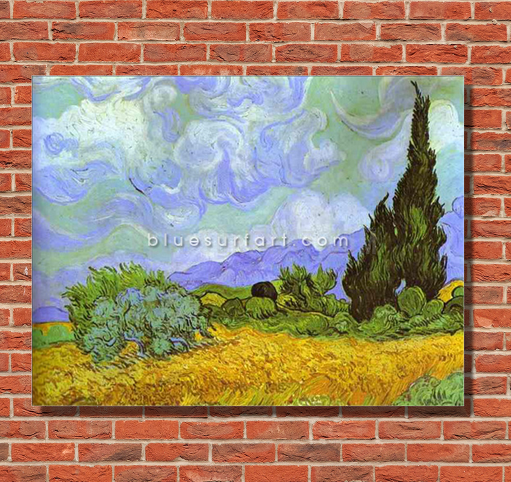 Wheat Field with Cypresses. Saint-Remy Reproduction in Oil Painting on Canvas 1