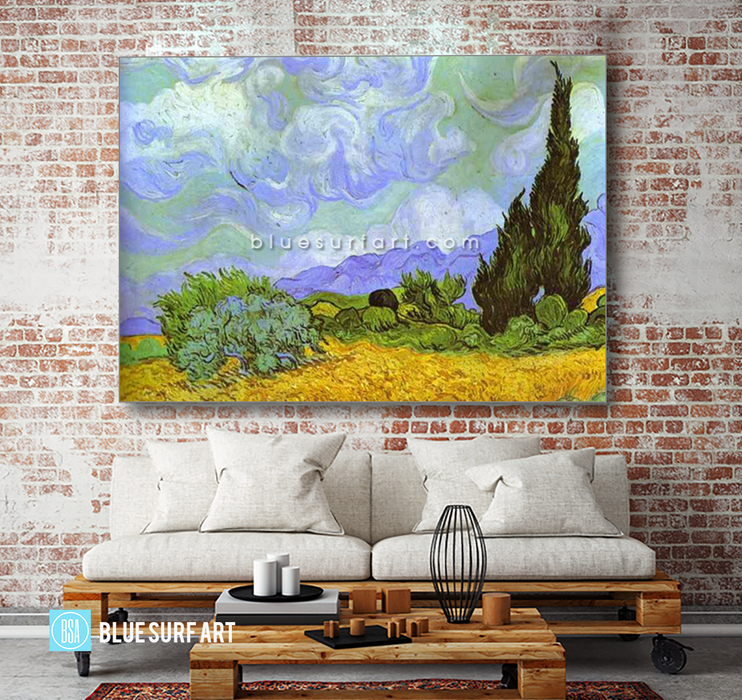 Wheat Field with Cypresses. Saint-Remy Reproduction in Oil Painting on Canvas 2