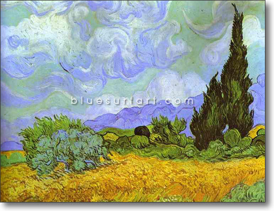 Wheat Field with Cypresses. Saint-Remy Reproduction in Oil Painting on Canvas