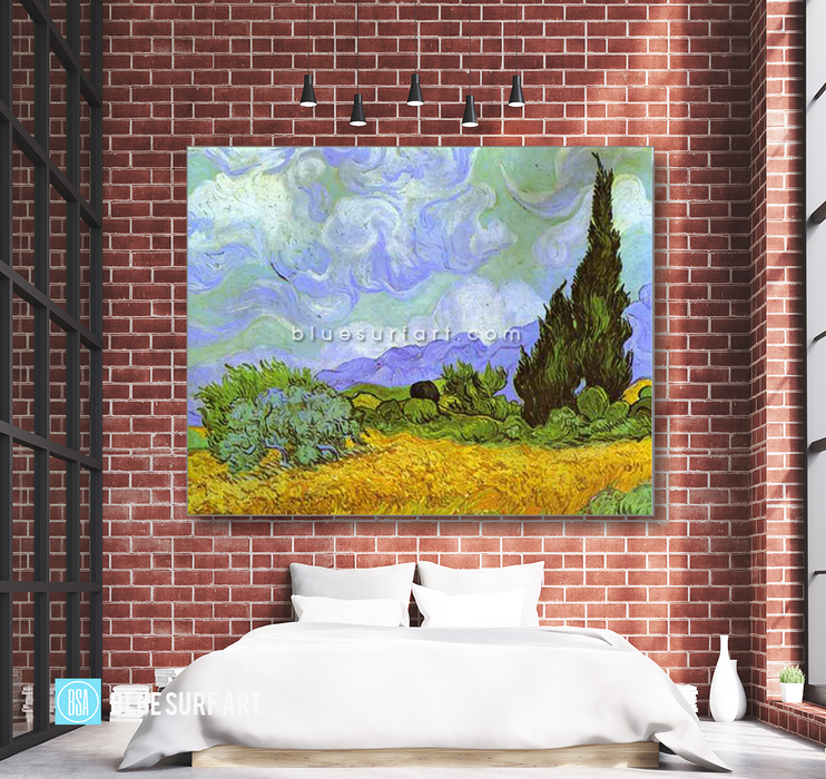 Wheat Field with Cypresses. Saint-Remy Reproduction in Oil Painting on Canvas 4