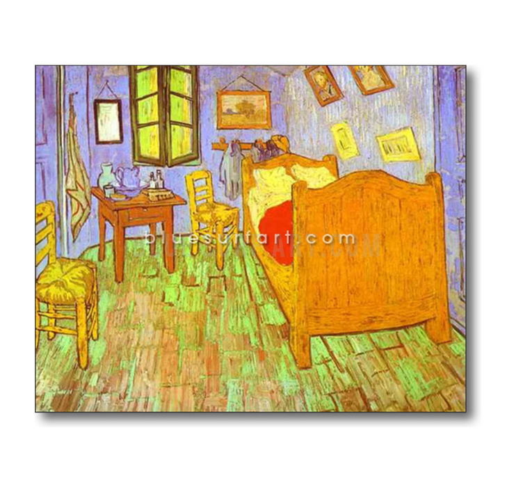 Van Goghs Bedroom in Arles. Saint-Remy Reproduction oil painting on canvas by Blue Surf Art 1