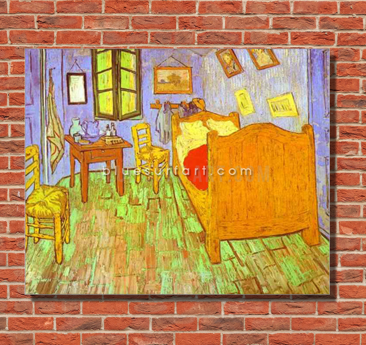 Van Goghs Bedroom in Arles. Saint-Remy Reproduction oil painting on canvas by Blue Surf Art 2