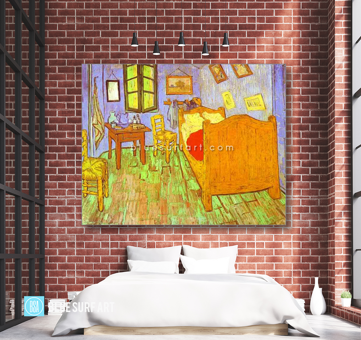 Van Goghs Bedroom in Arles. Saint-Remy Reproduction oil painting on canvas by Blue Surf Art 3