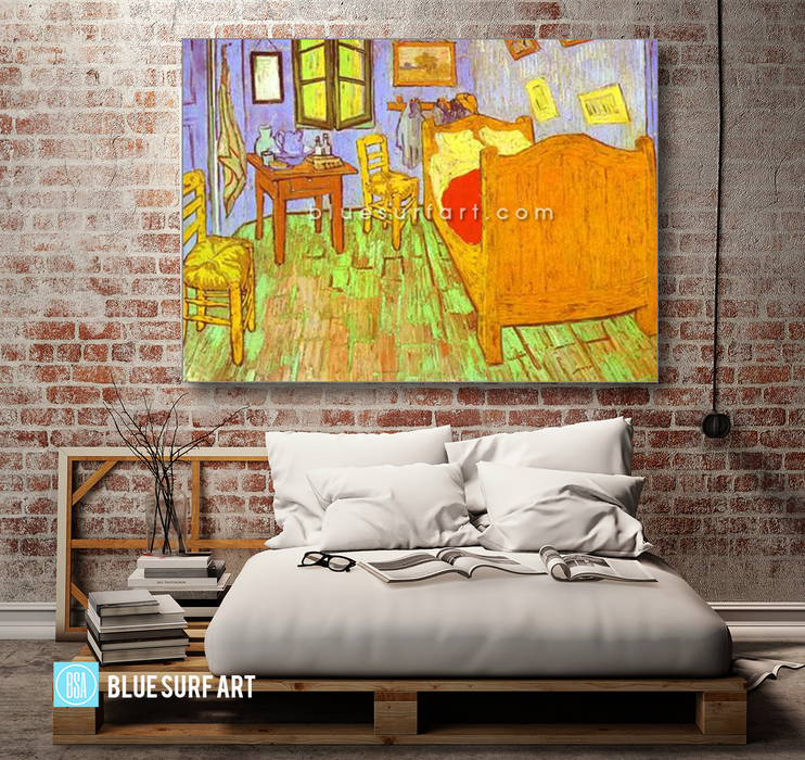 Van Goghs Bedroom in Arles. Saint-Remy Reproduction oil painting on canvas by Blue Surf Art 4