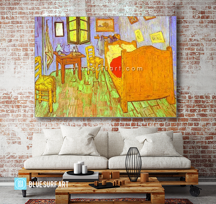 Van Goghs Bedroom in Arles. Saint-Remy Reproduction oil painting on canvas by Blue Surf Art 5