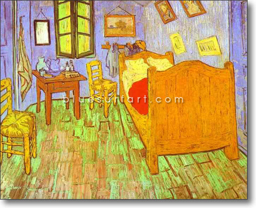 Van Goghs Bedroom in Arles. Saint-Remy Reproduction oil painting on canvas by Blue Surf Art