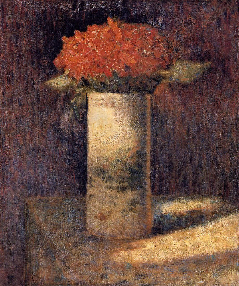 Vase of Flowers by Georges Seurat Reproduction Painting by Blue Surf Art