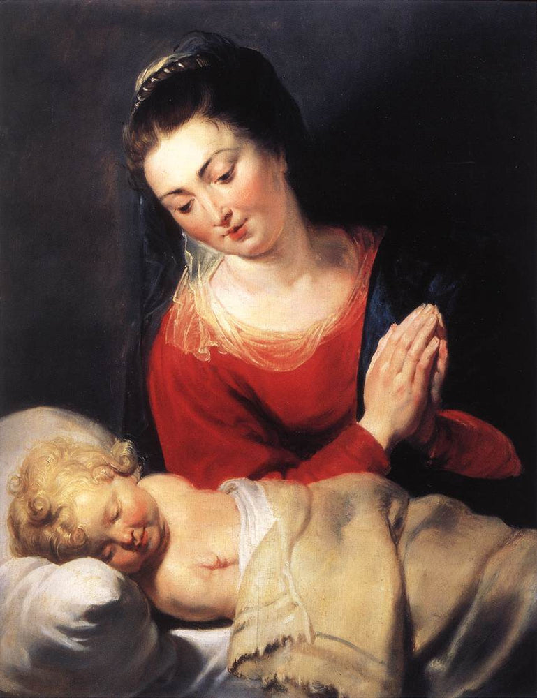 Virgin in Adoration before the Christ Child by Peter Paul Rubens Reproduction Oil Painting on Canvas