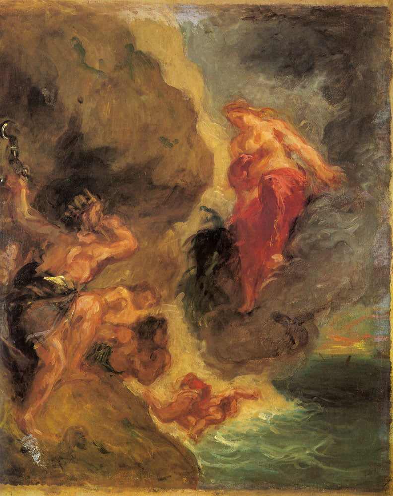 Winter Juno And Aeolus  by Eugène Delacroix Reproduction Painting by Blue Surf Art