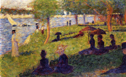 Woman Fishing and Seated Figures by Georges Seurat Reproduction Painting by Blue Surf Art