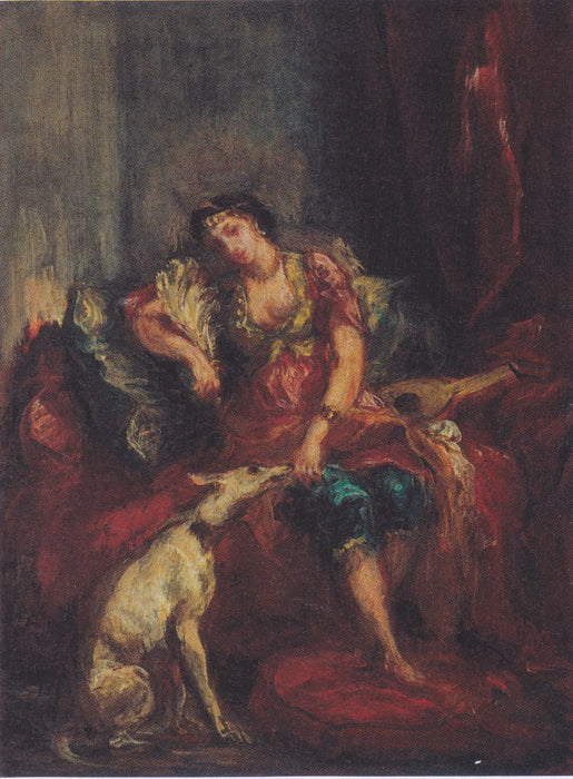 Woman from Algiers with Windhund by Eugène Delacroix Reproduction Painting by Blue Surf Art