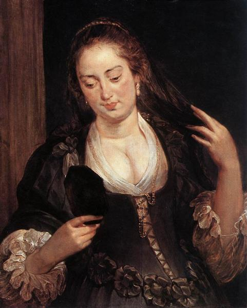 Woman with a Mirror by Peter Paul Rubens Reproduction Oil Painting on Canvas