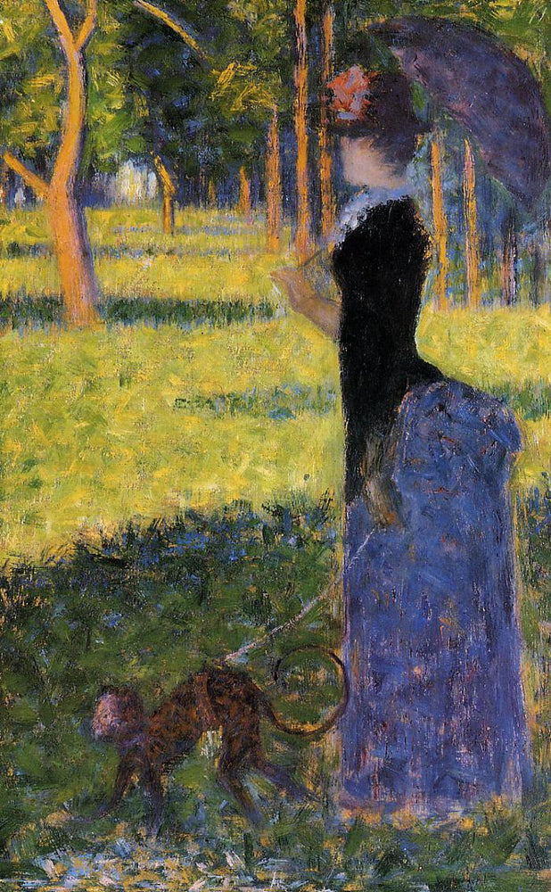 Woman with a Monkey by Georges Seurat Reproduction Painting by Blue Surf Art