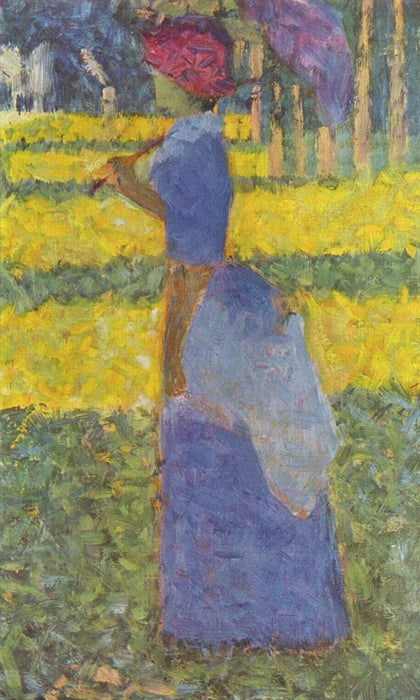Woman with Umbrella by Georges Seurat Reproduction Painting by Blue Surf Art