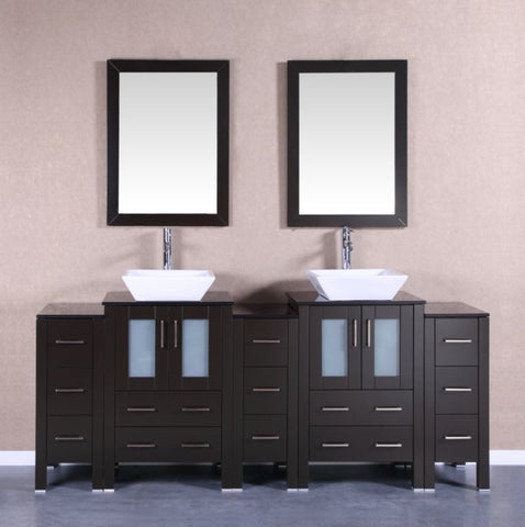 "Image of 84"" Bosconi AB224SQBG3S Double Vanity"