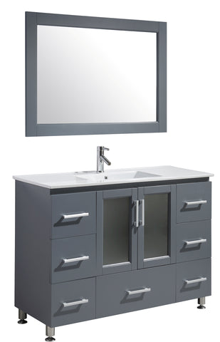 "Image of Stanton 48"" Single Sink Vanity Set in Gray Finish"