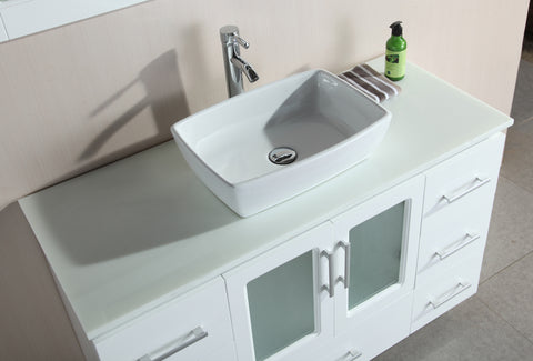 "Image of Stanton 48"" Single Sink Vanity Set with Vessel Sink in White"