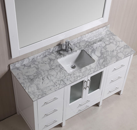 "Image of Stanton 60"" Single Sink Vanity Set with Marble Top In White and Mirror"