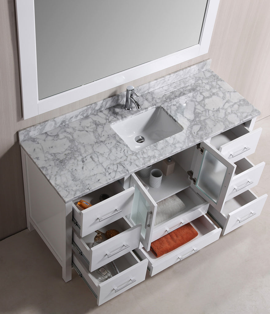 "Stanton 60"" Single Sink Vanity Set with Marble Top In White and Mirror"