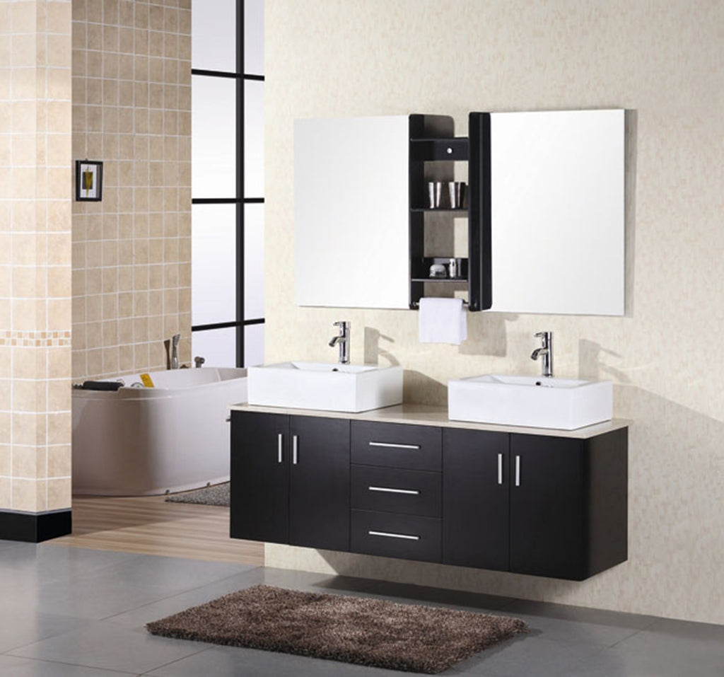 "Portland 61"" Double Sink - Wall Mount Vanity Set in Espresso"