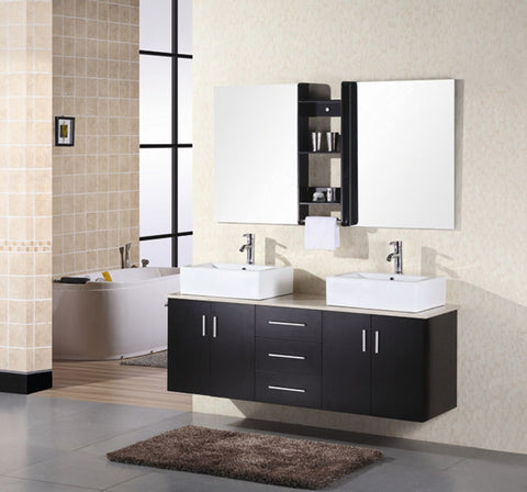 "Image of Portland 61"" Double Sink - Wall Mount Vanity Set in Espresso"