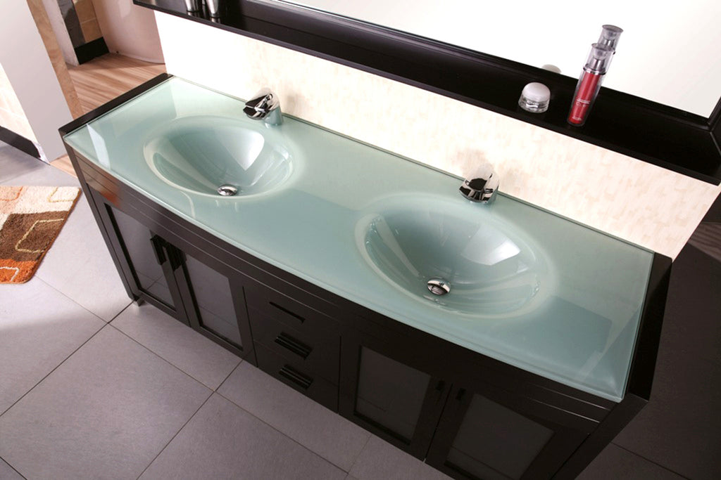 "Waterfall 72"" Double Sink Vanity Set in Espresso"