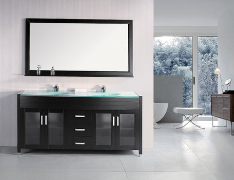 "Image of Waterfall 72"" Double Sink Vanity Set in Espresso"