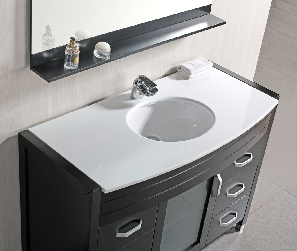 "Waterfall 48"" Single Sink Vanity Set w/ White Top"