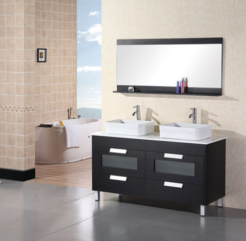 "Francesca 55"" Double Sink Vanity Set in Espresso"
