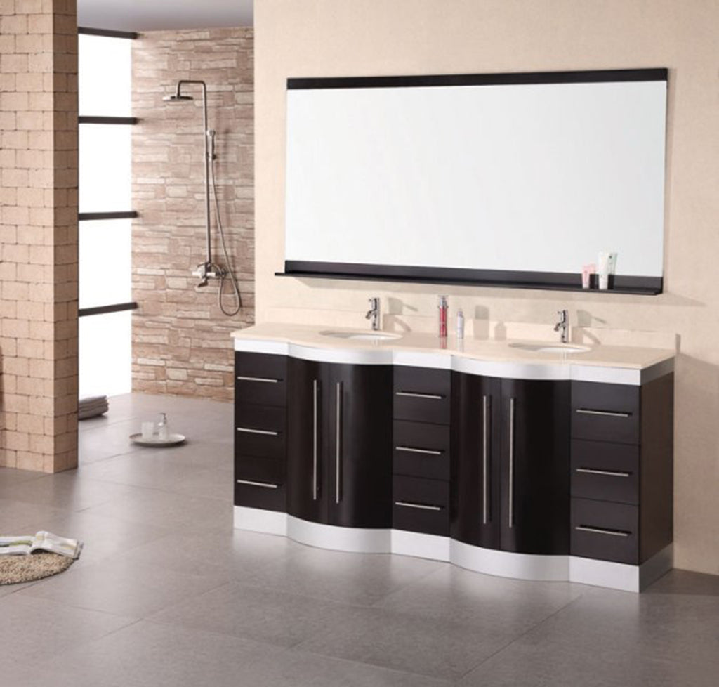 "Jade 72"" Double Sink Vanity Set in Espresso w/ Travertine Top"