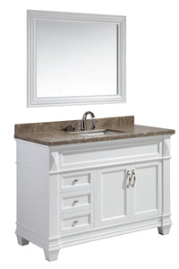 "Hudson 48"" Single Sink Vanity Set in White with Marble Top"