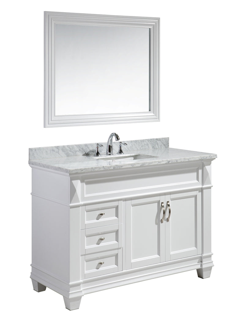 "Hudson 48"" Single Sink Vanity Set in White with White Carrara Marble Countertop"