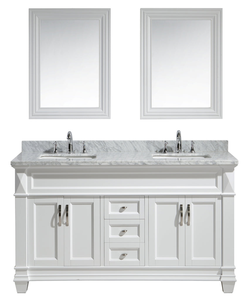 "Hudson 60"" Double Sink Vanity Set in White with White Carrara Marble Countertop"