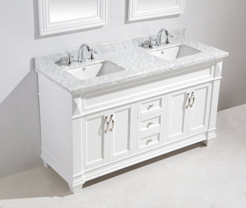 "Image of Hudson 60"" Double Sink Vanity Set in White with White Carrara Marble Countertop"