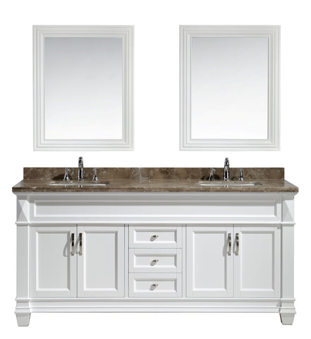 "Image of Hudson 72"" Double Sink Vanity Set in White with White Carrara Marble Countertop"