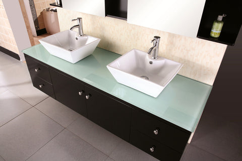"Image of Portland 72"" Double Sink - Wall Mount Vanity Set in Espresso"