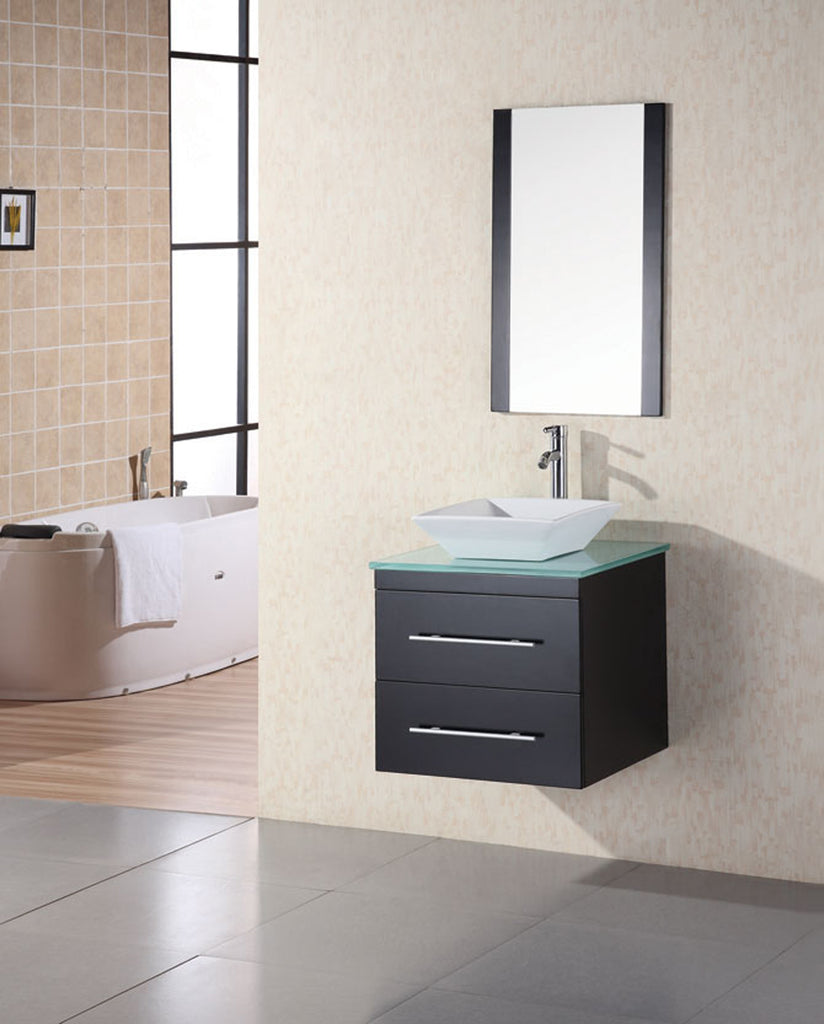 "Portland 24"" Single Sink - Wall Mount Vanity Set in Espresso w/ Glass Top"
