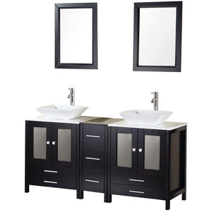 "Arlington 61"" Double Sink Vanity Set in Espresso"