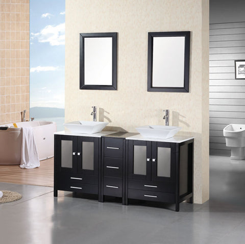 "Image of Arlington 61"" Double Sink Vanity Set in Espresso"