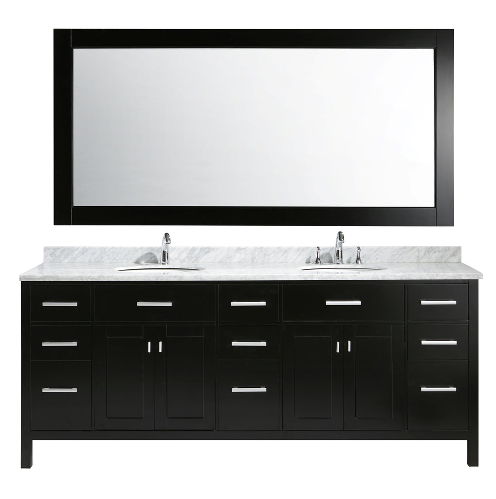 "London 84"" Double Sink Vanity Set in Espresso Finish"