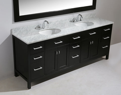 "Image of London 84"" Double Sink Vanity Set in Espresso Finish"