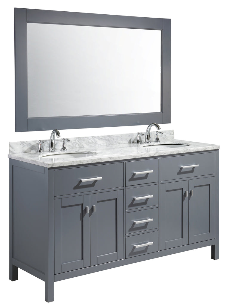 "London 61"" Double Sink Vanity Set in Gray Finish"