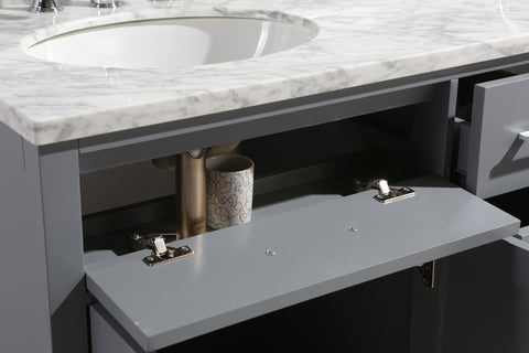 "Image of London 61"" Double Sink Vanity Set in Gray Finish"