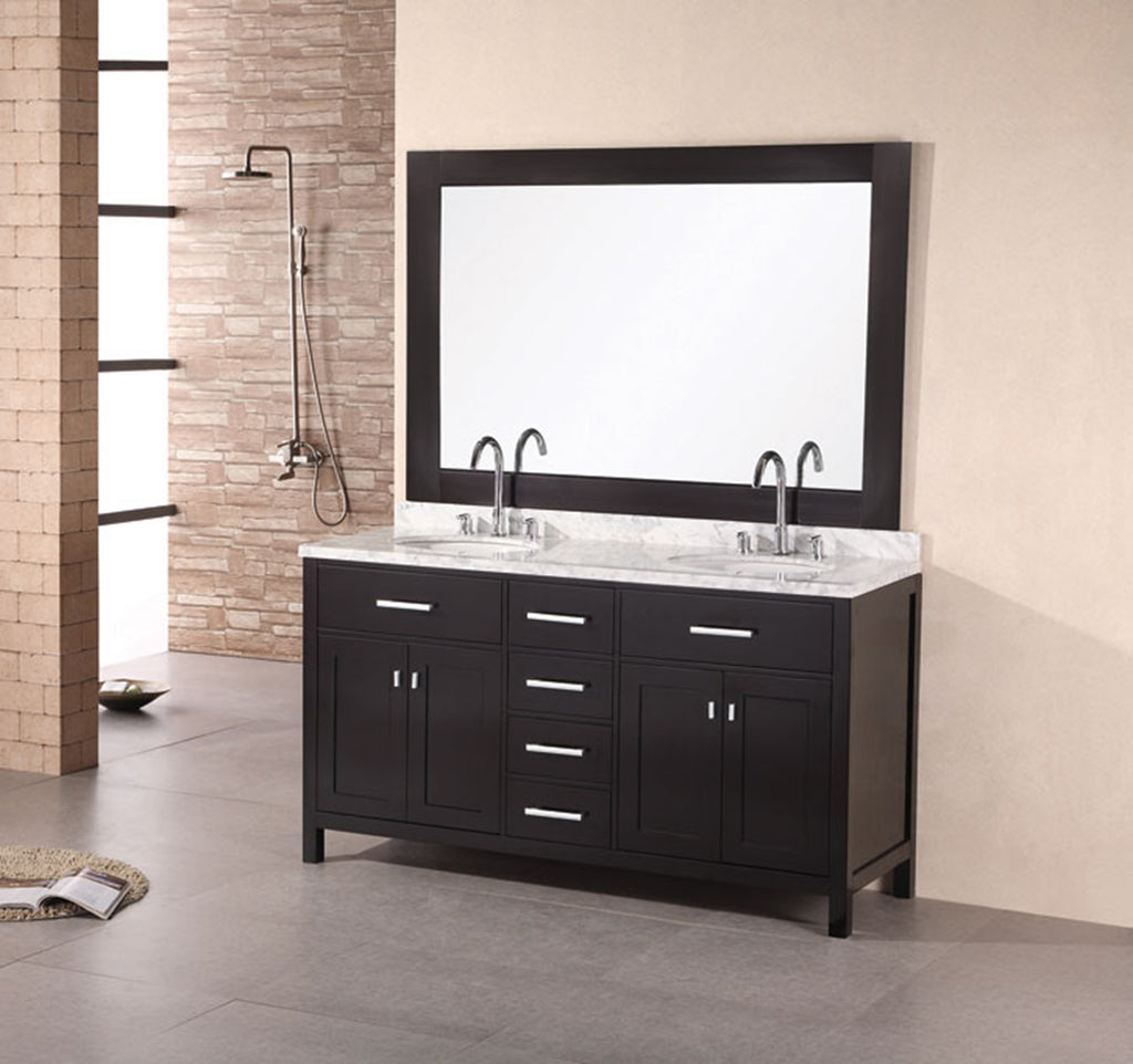 "London 61"" Double Sink Vanity Set in Espresso"