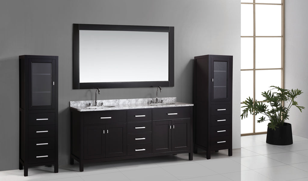 "London 72"" Double Sink Vanity Set in Espresso with Two matching linen cabinet in espresso"