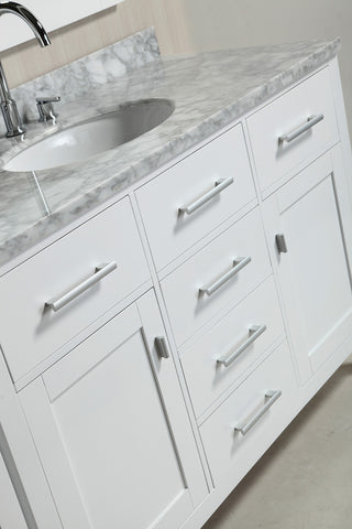"Image of London 48"" Single Sink Vanity Set in White Finish with Make-up table in White"