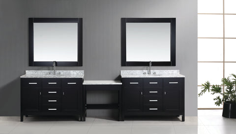"Image of Two London 48"" Single Sink Vanity Set in Espresso Finish with One Make-up table in Espresso"